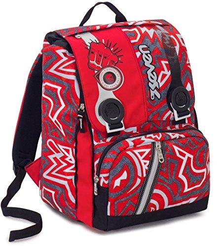 Zaino scuola estensibile seven , maori , rosso , 28 lt , elementari e medie