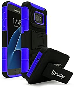 Galaxy S7 Case, Bastex Heavy Duty Hybrid Rubber Silicone Cover with Protective Kickstand Holster Belt Clip Case for Samsung Galaxy S7 (Blue/Black)