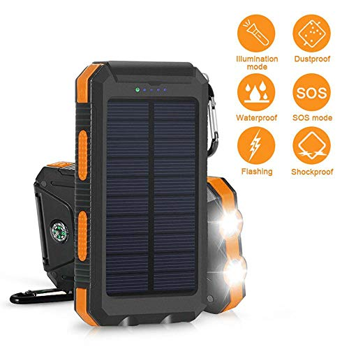 Solar Power Financial institution, Zowam 20000mlAh Portable Solar Phone Charger External Backup Solar Panel with Dual USB Ports Outdoor LED Flashlight and Compass Image 2