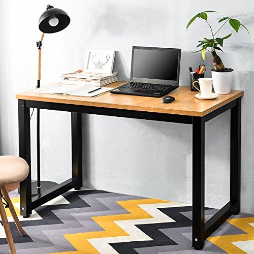 Merax PC Tisch Computertisch Schreibtisch Schreibtische Bürotisch Arbeitstisch Officetisch PC-Tisch Esstisch für Zuhause Büro Schlafzimmer Rleichterte Montage (Eiche_1) - Schlafzimmer Eiche Tisch