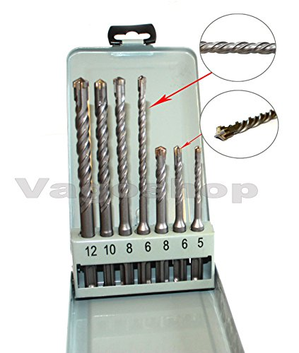 SDS Plus Bohrer Set 7 tlg in praktischer Metallschachtel doppel Wendel+ Kreuz Quadro Betonbohrer