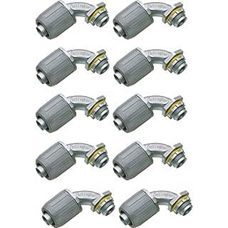 Arlington Industries LT907-10 Liquid Tight 90-Degree Zinc Die Cast Push On Conduit Connector (Pack of 10), 3/4