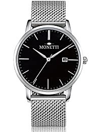 MONETTI Unisex reloj de cuarzo analógico con brazalete de metal de plata en una exclusiva caja de regalo