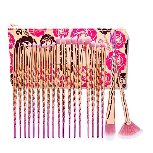 Fashion Base® Professional Lot de pinceaux de maquillage Tools-natural Cheveux synthétiques Kabuki Brush-cosmetics Brush-face Poudre Contour Surligneur Fond de teint liquide Correcteur Fard à paupières Brosse à sourcils avec coloré Housse de transport (20pcs Rose doré Poignée Rose Cheveux Eyebrushes Lot)