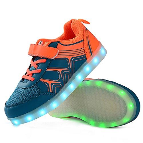 Kinder Sportschuhe Orange Jungen Sneaker Bevoker LED Schuhe M盲dchen Laufschuhe Leuchtend Unisex wHRFAqUE