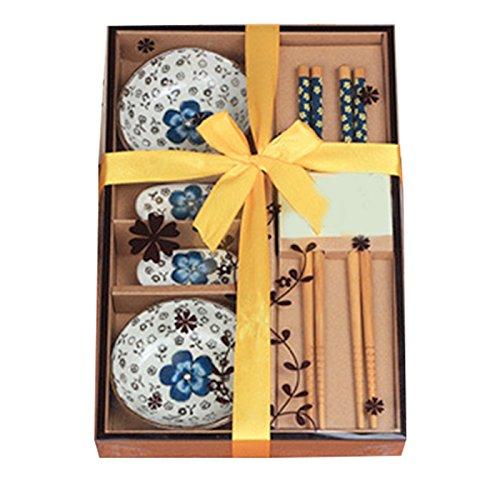 Vinmax, set da tavola in ceramica giapponese, piattini da sushi per due, portatile, con scatola regalo blue