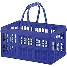 Axentia 116853 Caja plegable, aprox. 16 L con mangos, caja para la compra, caja de transporte y bolso para maletero, plástico, azul, 39 x 25 x 21 cm