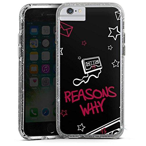 Apple iPhone 8 Bumper Hülle Bumper Case Glitzer Hülle Reasons Why 13 Reasons Kassette Bumper Case Glitzer silber