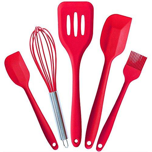 Gabriera Küchenhelfer Sets Silikon Küche Werkzeug Set Kochutensilien-Set 5Stück 2Größen Spatel/Turner/Schneebesen/Backpinsel für Kochen Backen Rot