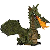 Papo Collectable Model Toy - Green Winged Dragon with Flame Figure