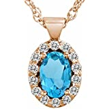 Ryan Jonathan Blue Topaz and Diamond Pendant w/18 Inch Chain in 14K Rose Gold