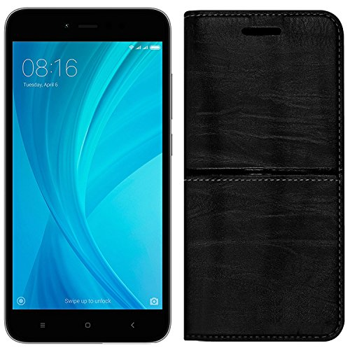 (Buy 1 Get 1 Tempered Glass Free) Roxel Redmi Y1 Rich Boss Leather Flip Cover with [ Stand View & Card Holder Option ] Leather Flip Cover for Redmi Y1 (Grey, 32 GB) (3 GB RAM) - Texture Black