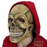 CreepyParty Máscara de Cabeza Humana de Fiesta de Traje Lujo de Halloween de Novedad Cráneo