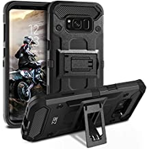 BEZ® Cover Samsung Galaxy S8, Heavy Duty Cover Holster Kickstand [Antiurto] Custodia Paraurti Rugged adatta per Samsung Galaxy S8 - Nero