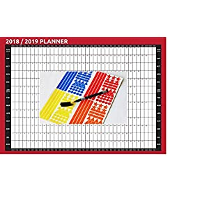 2018/2019 A2 Size |Compact Size| Student Academic Year Wall Planner Calendar Pen & Stickers |Calendar August to August| Family Planner| Boys Girls, Kids & Children| Glossy 135g/m² Art paper