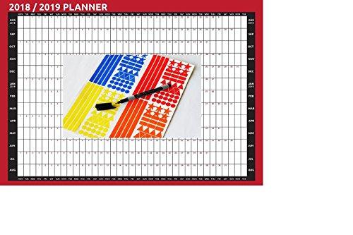 2019 A2 Size Academic Mid Year Wall Planner Calendar AUG 2018 AUG