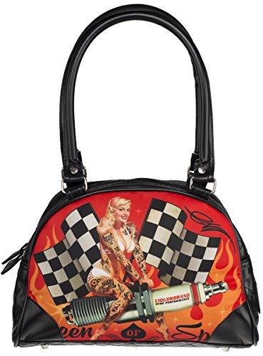 0a9fe10c1cc80 Liquor Brand Unisex Tasche Queen of Speed Handtasche Schwarz Schwarz mit  buntem Motiv