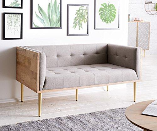 DELIFE Couch Metropolitan Grau 140x73 cm Mango Natur filigran abgesteppt Sofa