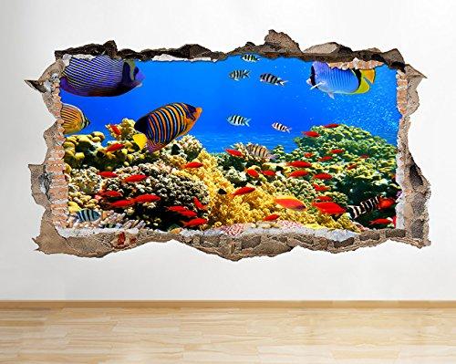W053Wandsticker Aquarium Fish Ocean Sea Coral Wand Aufkleber 3D Poster Art Aufkleber Vinyl Zimmer (Riesige (100x - Tank Ocean Fish