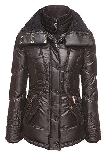 khujo - Blouson - Uni - Manches Longues - Femme S Noir - schwarz-grau (P1_BLK-PA)
