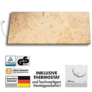 Marmony M800-0066 Jura mit Thermostat Marmor Naturstein Infrarot-Heizung inkl. Montagematerial, steckerfertige Wandheizung zum Aufhängen