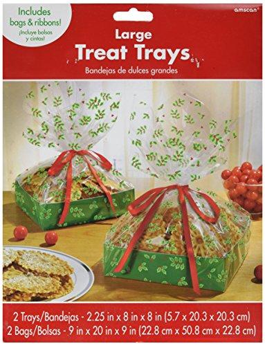 Holly großes behandeln Tablett mit Cello Tasche Weihnachten Party Geschenk für Giveaway (2Sets), transparent/Grün, 27,9x 21,6cm