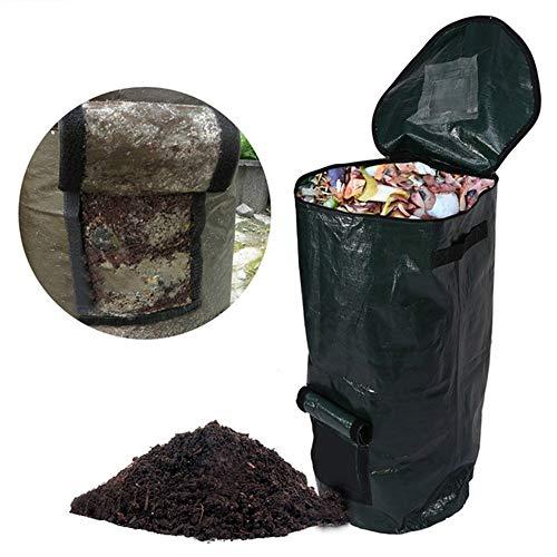 LAIZETONGXUN Komposteimer, leicht, faltbar und langlebig, Kompostbeutel für die Aufbewahrung von Kompost, Blumenbeet, Gemüse, Rasen, etc. 2 Größen 13.8x23.6inch