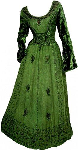 Dark Dreams Gothic Mittelalter LARP Kleid mit Samt bestickt Schnürung Freyja, Größe:freesize, (Mittelalter Frauen Für Kleid)