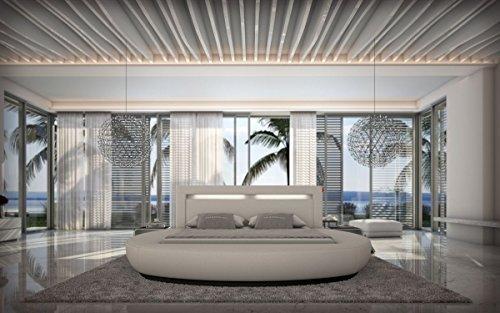 Wasserbett RIVA 180 x 200 cm oder 200 x 220 cm in weiß, Kunstleder, mit Beleuchtung