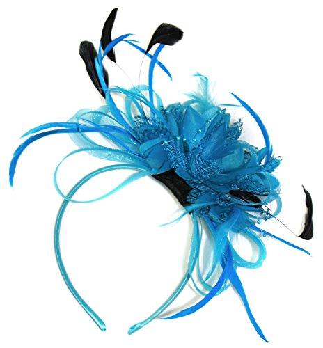aqua-bleu-bleuet-net-creole-plume-pour-cheveux-serre-tete-mariage-royal-ascot-courses