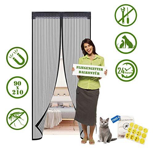 AOTWAN Fliegengitter Balkontür Insektenschutz Balkontür 90x210cm, Magnetvorhang Magnet Fliegengitter Tür für die Balkontür, Terrassentür, Kinderzimmer, Wohnzimmer, Fliegengitter Balkontür Ohne Bohren