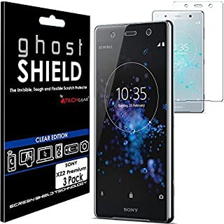 TECHGEAR [3 Pack] Screen Protectors to fit Sony Xperia XZ2 Premium [ghostSHIELD Edition] Genuine Reinforced Flexible TPU Screen Protector Guard Covers with Full Screen Coverage inc Curved Screen