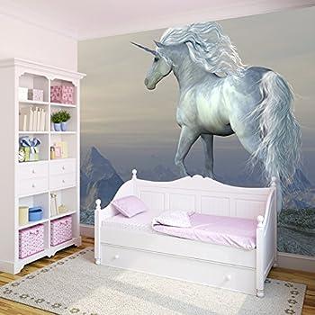 White unicorn wall mural photo wallpaper girls bedroom for Amazon bedroom wallpaper