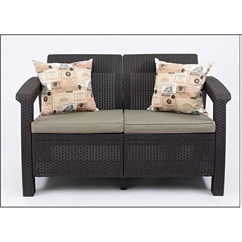 JUSTyou Corfu Sofa Couch Gartenbank + Tisch in Rattan-Optik Braun Taupe - 2