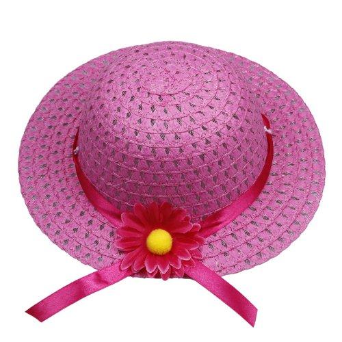 Eozy 8 Farbe Niedlichen ein Kind Taschen und ein Kind Sommerhüte aus Straw mit Schönen Blume für 1-4 Jahre Alt Kind (#4 Weiß) #6 Dunkelrosa