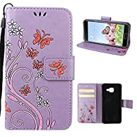 Galaxy A3 2016 Case, Samsung Galaxy A3 2016 Wallet Case, Rosa Schleife PU Leather Butterfly Flower Embossed Floral Flip Magnetic Closure Phone Case Protective Shell Case Cover for for Samsung Galaxy A3 2016 A310 (4.7