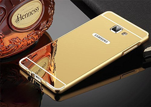 Johra For Samsung Galaxy J7 Prime Back Cover, Gold Golden Acrylic Mirror Back Cover Case with Bumper Case for Samsung J7 Prime Mirror Back Cover