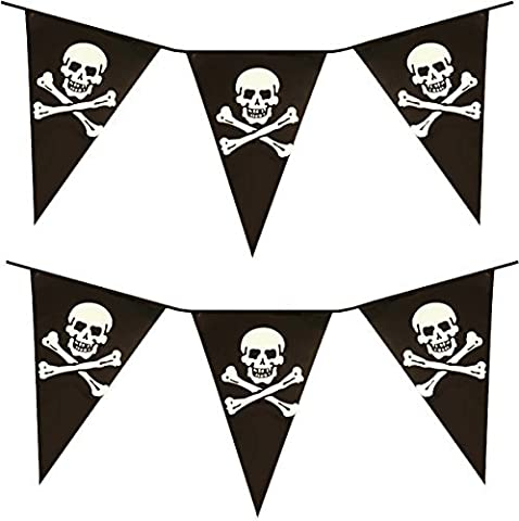 VALUE TWIN PACK Black & White Colour Pirate Skull & Crossbones Pennant Bunting Indoor/Outdoor Party Decoration Banner Total Approx 22 Flags 24 Foot by PIRATE BUNTING