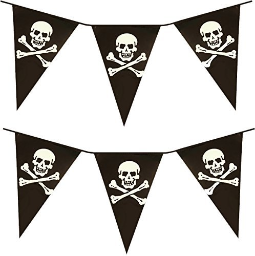 VALUE TWIN PACK Black & White Colour Pirate Skull & Crossbones Pennant Bunting Indoor/Outdoor Party Decoration Banner Total Approx 22 Flags 24 Foot by PIRATE BUNTING (Captain Black Pirate Kostüm)