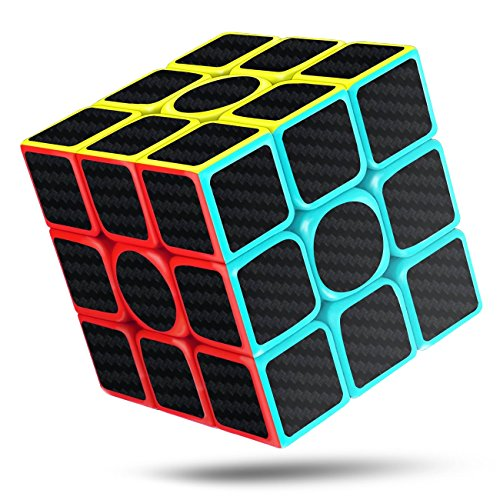 cfmour Cubo di Rubik 3x3x3 in Fibra di Carbonio Adesivo Liscio Magia 3D Puzzle Cube, Versione Migliorata, 5.7cm (Nero)