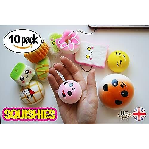 juguetes kawaii UKQ Squishies - Juego de 10 mini juguetes de Kawaii para pasteles, pan de donuts y pan de piña, juguetes para aliviar el estrés de color crema, juguete para niños