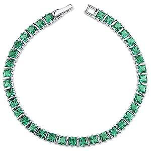 Revoni 13.00 carats Princess Cut Emerald Gemstone Bracelet in Sterling Silver
