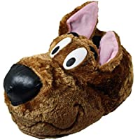 Mens and Boys Brown Plush Hound Dog Novelty Slippers