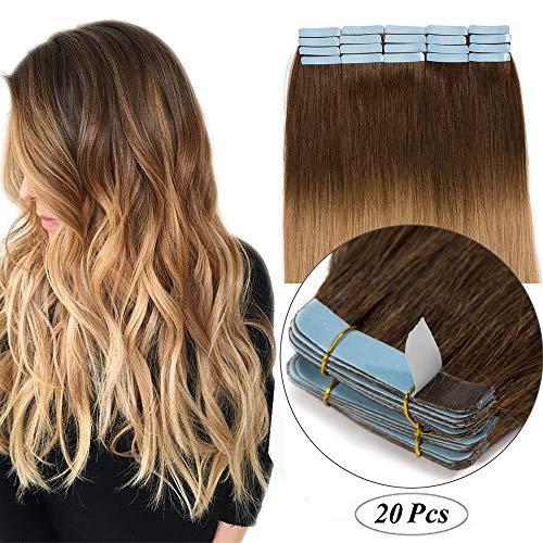 Remy Haarteile (Tape in Extensions Echthaar Haarverlängerung Klebeband Haarteil 100% Remy Human Haar (20 stück+10pcs free tapes) Mittelbraun/Honigblond #4T27-1 18