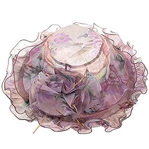Vbiger Chapeau Femme Floral en Mousseline de soie pour Voyage Mariage Cérémonies (Violet Clair 1, Tour : 56-57 cm)