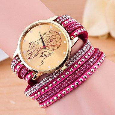 XKC-watches Relojes de Mujer, Las Mujeres de Moda Estilo Largo Europeo Envuelto atrapasueños Diamantes de imitación Reloj Pulsera (Color : Fucsia)