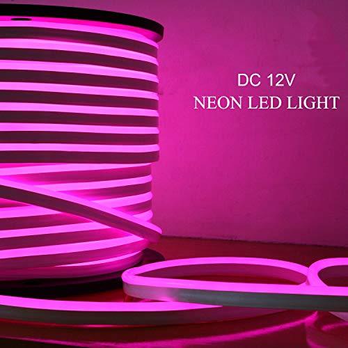 Luz LED neón cuerda, 10M, rosa Luz tira flexible LED, DC 12V SMD 2835 Tubo flexible LED neón, 120led IP65, Lámpara de cuerda impermeable, Decoración de festivales de bricolaje