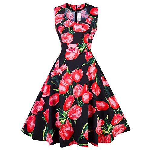 iBaste Retro Abiti Eleganti Donna Stile Hepburn Floreale Vestiti Stampati Cocktail Dress 5