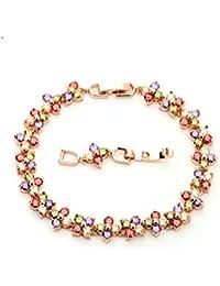 27ad4629e2f5 AieniD - Pulsera Mujer Joven Arco Iris Cristal Flor Ajustable Brazalete de  Oro para Mujer