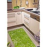 Alfombra de cocina antideslizante, lavable a mano 30 °C, motivo floral, verde, 67x200 cm